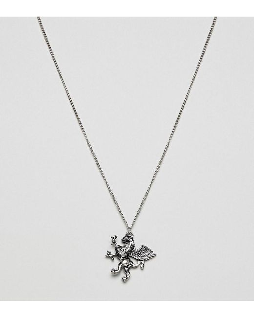Reclaimed (vintage) - Metallic Inspired Necklace With Statement Pendant In Silver Exclusive At Asos for Men - Lyst