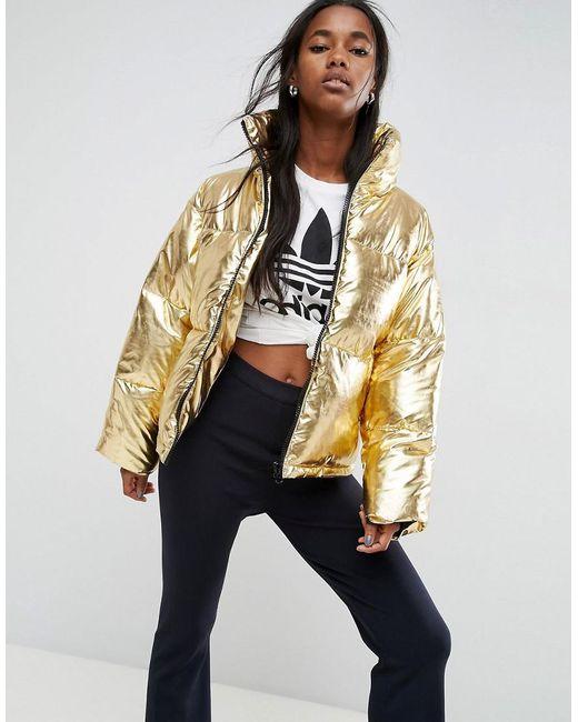 Lyst Asos Metallic Puffer Jacket In Metallic