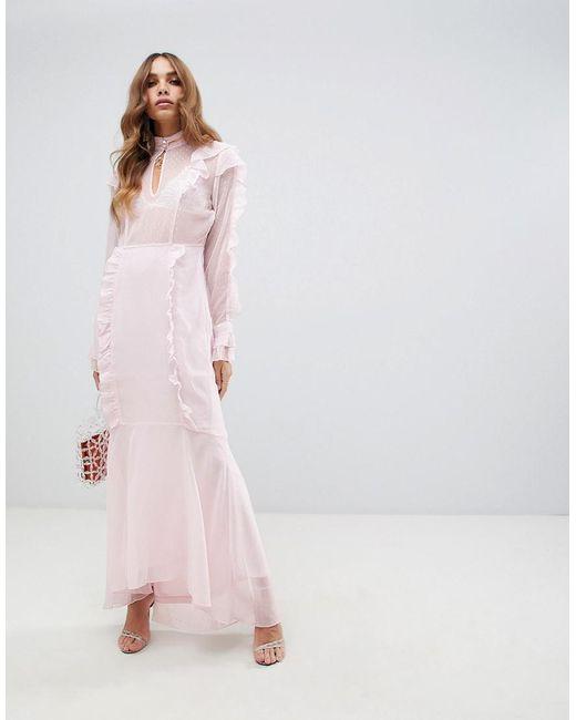 7ffbd848a Vero Moda - Multicolor Ruffle Pink Maxi Dress With Fishtail Hem - Lyst ...