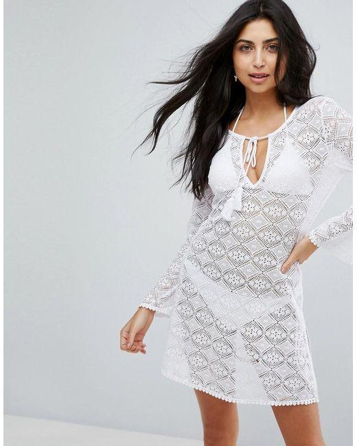 DORINA - White Crochet Beach Cover Up - Lyst