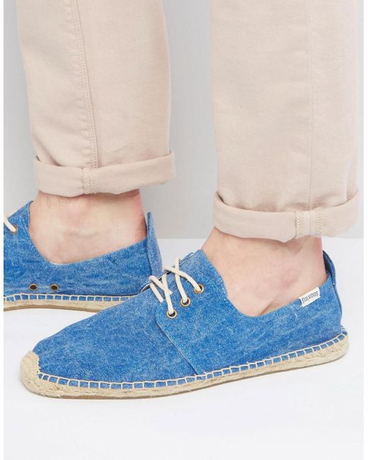 Soludos - Blue Derby Lace Up Mesh Espadrilles for Men - Lyst