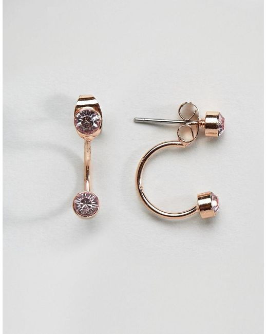 Pieces   Metallic Rose Gold Earrings   Lyst