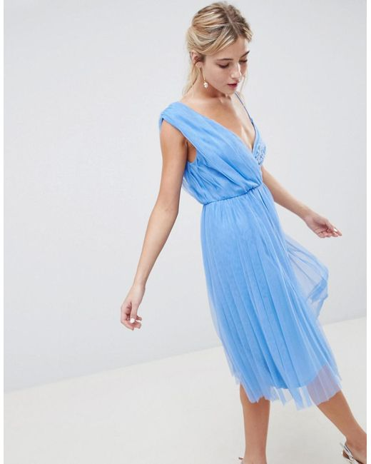 ASOS - Blue Pleated Tulle Midi Prom Dress With Lace Bodice - Lyst