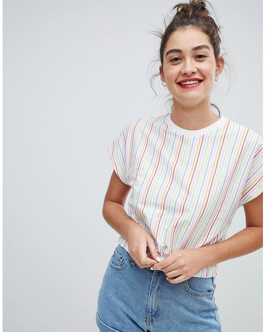 ASOS - White Top With Elasticated Hem In Rainbow Stripe - Lyst