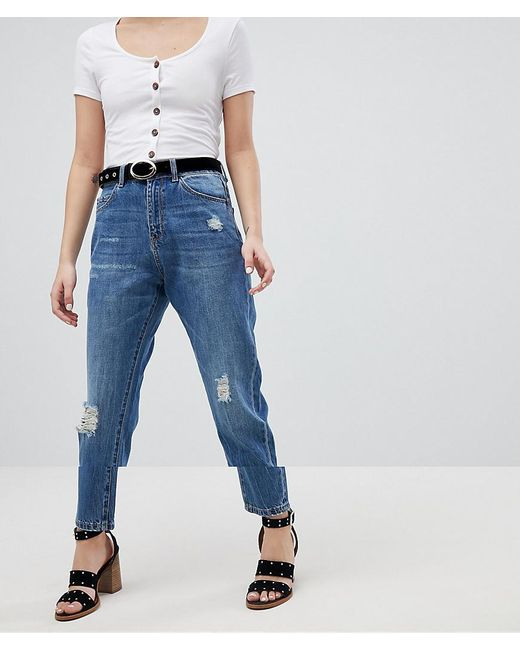 Vero Moda - Blue Aware Distressed Denim Jeans - Lyst