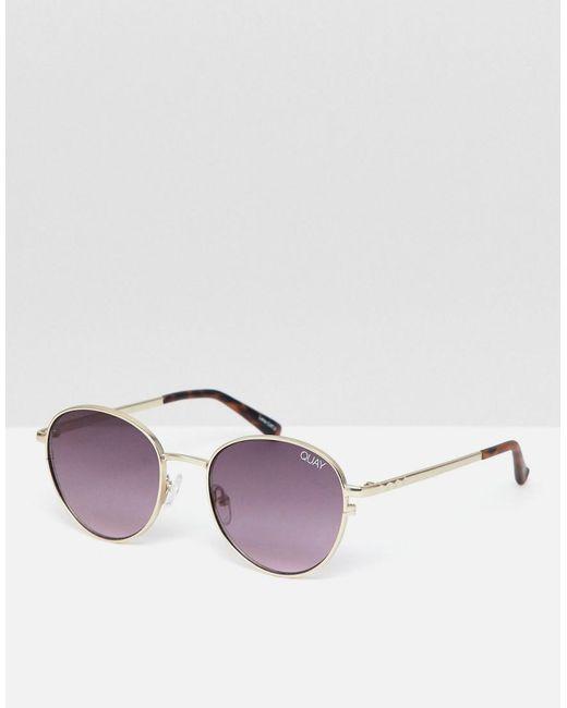 Quay - Metallic Crazy Love Round Sunglasses for Men - Lyst