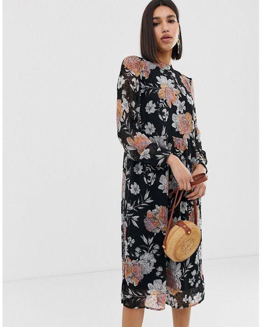 8751cb380 Vero Moda - Black Smocked Floral Sheer Midi Dress - Lyst ...