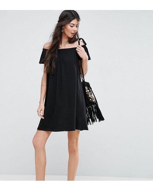 ASOS - Black Off Shoulder Mini Dress - Lyst