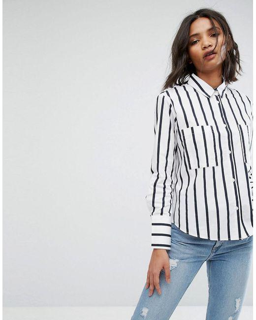 Mango   Blue Stripe Shirt   Lyst