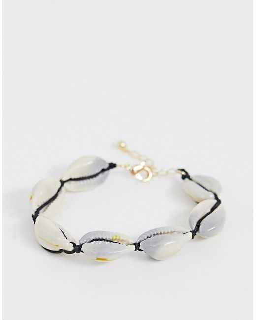 ASOS - Metallic Bracelet With Faux Shell - Lyst