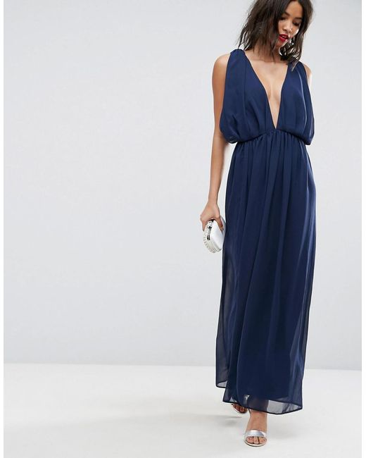 Asos Chiffon Twist Front Ruched Maxi Dress In Blue