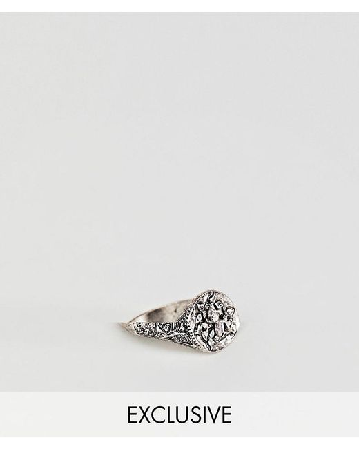 Reclaimed (vintage) - Metallic Inspired Signet Ring With Bird Design Exclusive At Asos for Men - Lyst