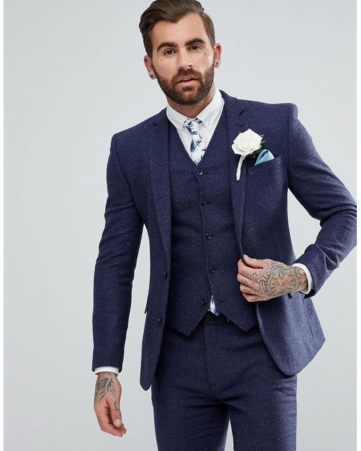 8a08e8d9d4 ASOS - Wedding Super Skinny Suit Jacket In Blue Micro Check for Men - Lyst  ...