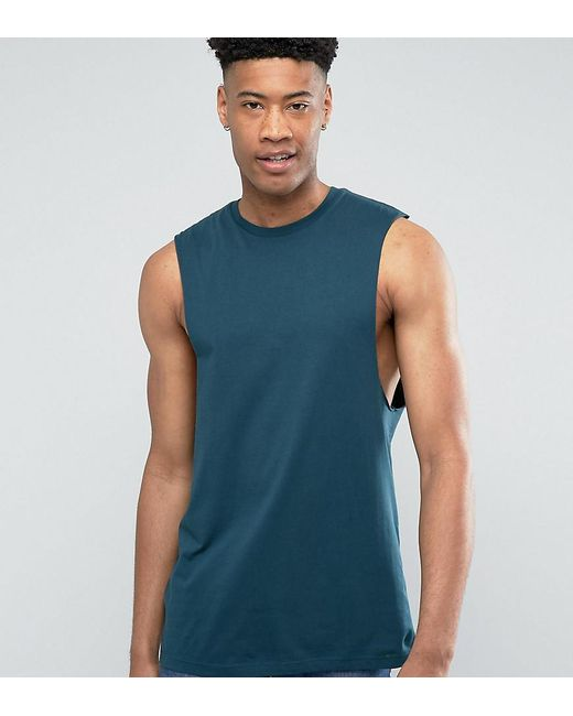 ASOS | Green Tall Longline Sleeveless T-shirt With Dropped Armhole for Men  | Lyst ...