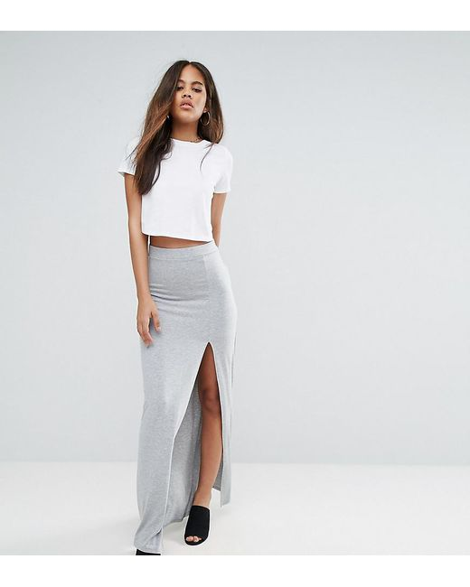 ASOS | Gray Maxi Skirt With Split Front | Lyst