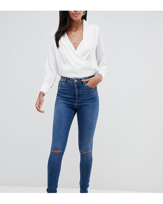 caf42ebbd6 ASOS - Blue Asos Design Tall Ridley High Waist Skinny Jeans In Extreme Dark  Stonewash With ...
