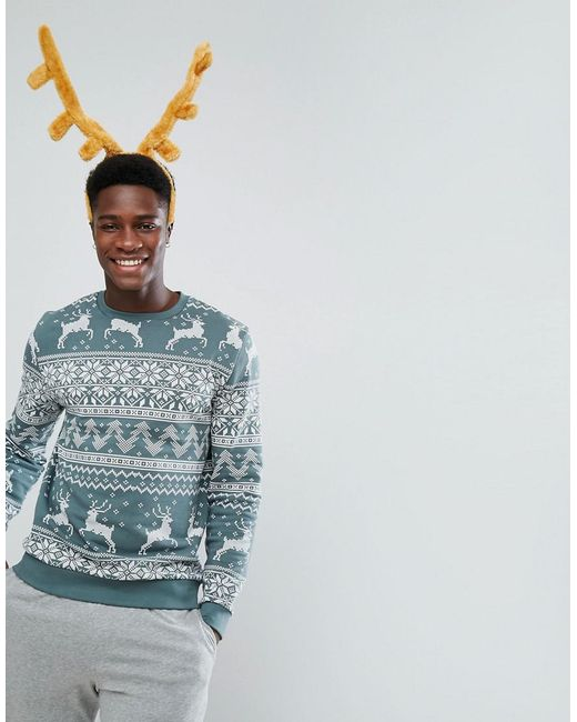 Lyst - Asos Sweatshirt In Christmas Fair Isle Print in Green for Men