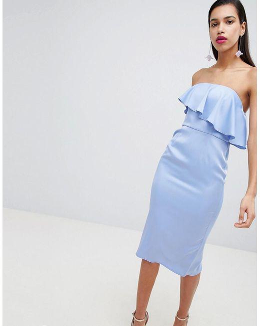 ASOS - Blue Soft Bandeau Ruffle Crop Top Pencil Midi Dress - Lyst
