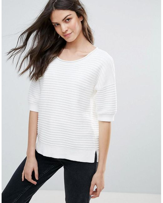 French Connection   White Heatwave Dinka Knit Flared Sweater   Lyst