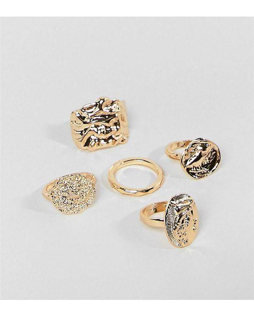 Monki - Metallic Multi Pack Rings In Gold - Lyst