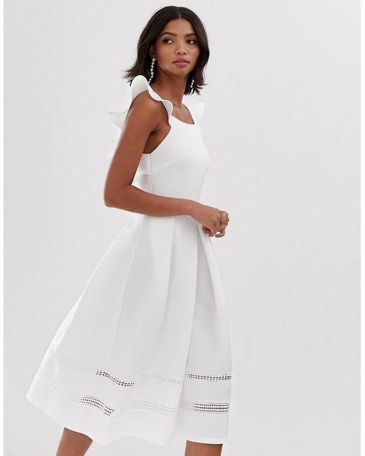 1baeb800fdd ASOS - White Lace Insert Ruffle Back Midi Prom Dress - Lyst ...