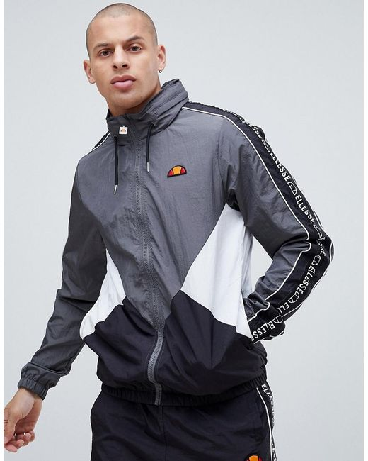 Ellesse - Gray Lapaccio Track Jacket With Logo Stripe Sleeve In Grey for Men - Lyst