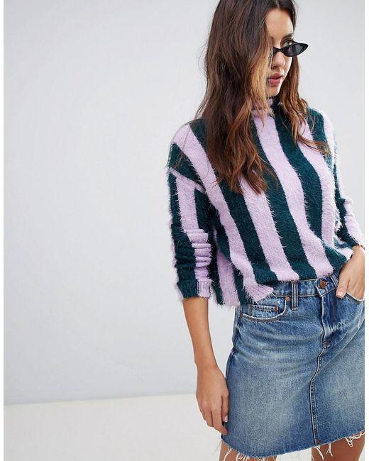 Blank NYC - Blue Lilac Stripe High Neck Sweater - Lyst