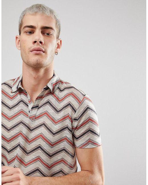 Longline Polo With Chevron Stripe & Revere Collar In Linen Look - Beige Asos Outlet Nicekicks rYWcP