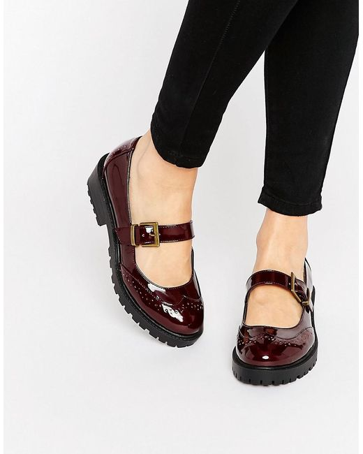 ASOS | Red Mendoza Flat Shoes | Lyst