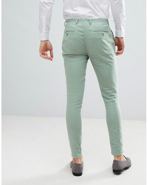 DESIGN Wedding Super Skinny Suit Trousers In Sage Green Linen - Sage green Asos