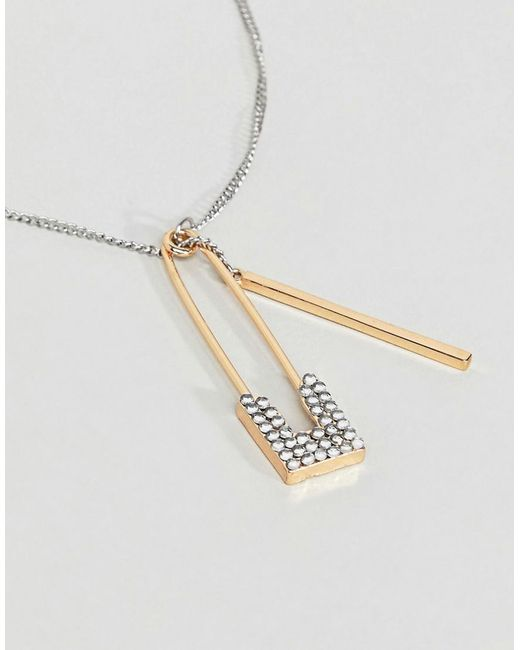 Silver and Gold Safety Pin Necklace - Multi Steve Madden PURV9