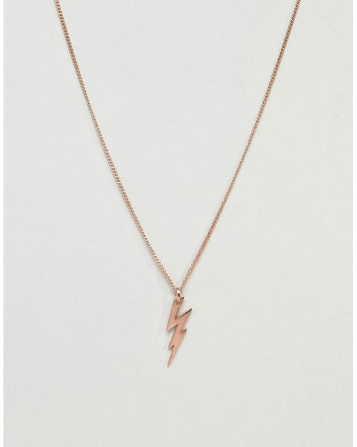 Simon Carter - Metallic Lightning Bolt Necklace In Rose Gold for Men - Lyst