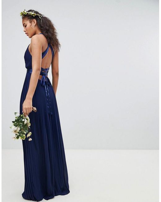 741021f2 ... TFNC London - Blue Pleated Maxi Bridesmaid Dress With Cross Back And  Bow Detail - Lyst