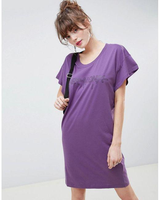 Cheap Monday - Purple Hacker Outline Media T-shirt Dress - Lyst