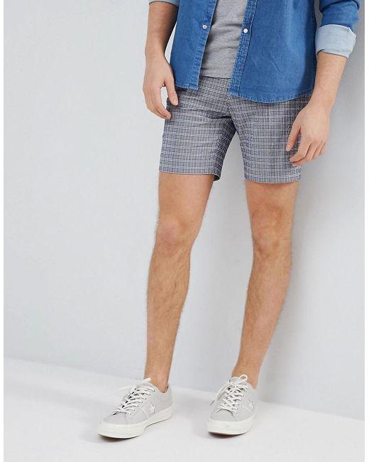 ASOS DESIGN - Blue Slim Mid Length Smart Short In Navy Seersucker Check for Men - Lyst