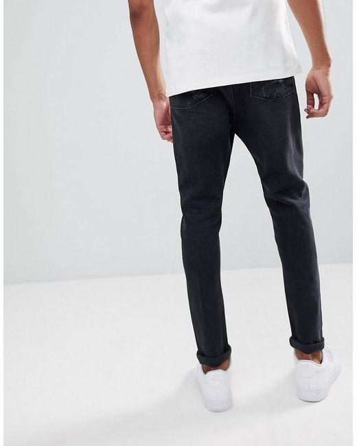 DESIGN Tall Drop Crotch Jeans In Washed Black With Heavy Rips - Washed black Asos xrpQ6BnStO