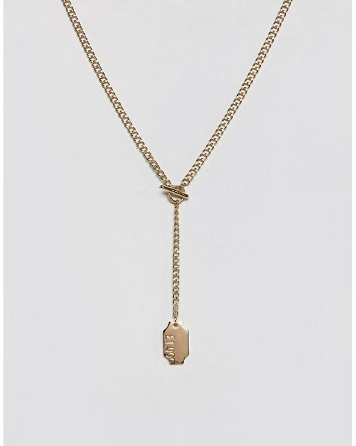 ASOS   Metallic Necklace In Gold With Tag Pendant for Men   Lyst