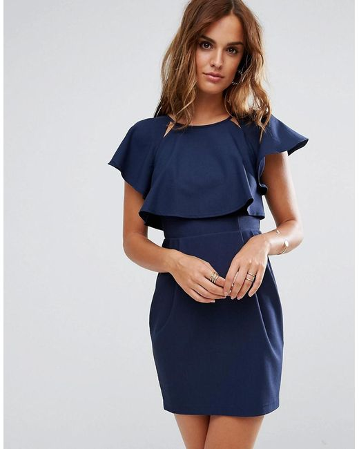 ASOS DESIGN - Blue Asos Double Layer Mini Wiggle Dress With Angel Sleeve - Lyst