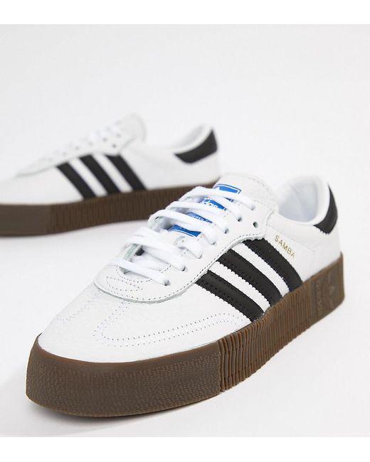 Adidas Originals - Samba Rose Trainers In White With Dark Gum Sole - Lyst  ... 7a0c90493