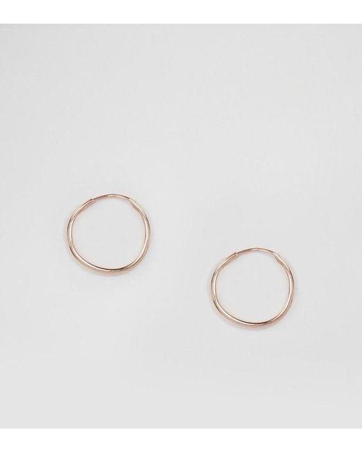 ASOS - Metallic Rose Gold Sterling Silver 9mm Hoop Earrings - Lyst