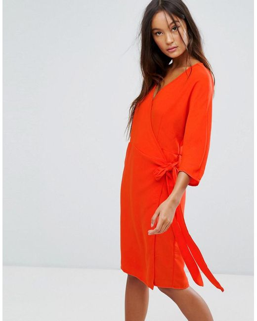 B.Young | Pink Wrap Front Dress | Lyst