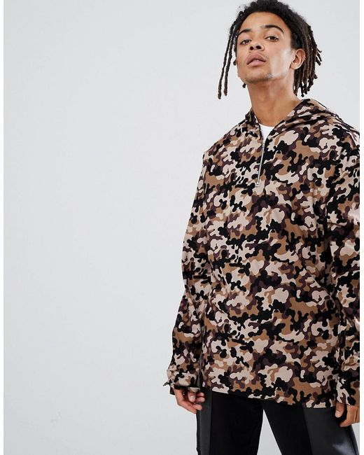 Free Shipping Latest Collections Inspired Oversized Camo Overhead Jacket With Hood And Half Zip - Camo Reclaimed Vintage Low Price Fee Shipping Online 9iocg