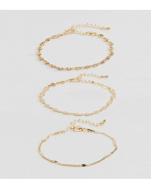 ASOS - Metallic Asos Design Curve Pack Of 3 Bracelets With Delicate Chain And Disc Detail In Gold - Lyst