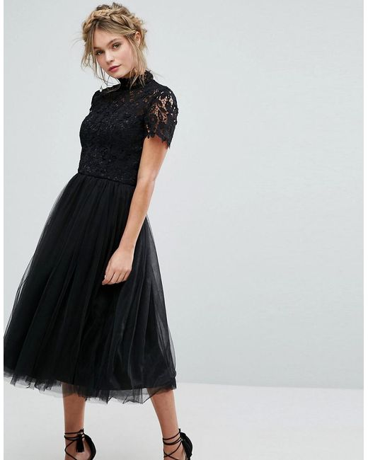 Chi London High Neck Lace Midi Dress With Tulle Skirt In Black Lyst