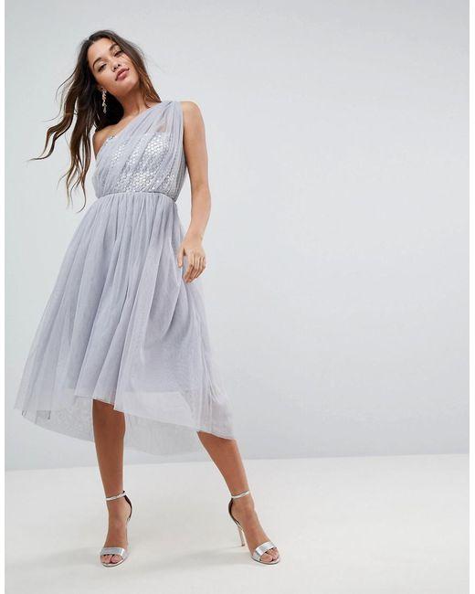 ASOS - Gray Premium Crystal Bodice Tulle One Shoulder Midi Prom Dress - Lyst