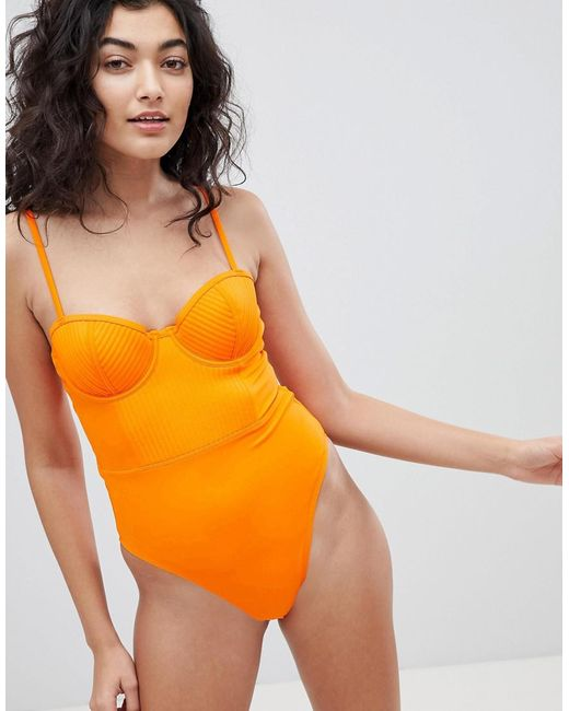 ASOS - Orange Recycled Stitched Cupped Underwired Swimsuit - Lyst