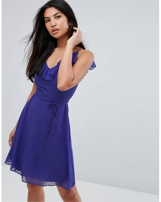 Zibi London | Blue Belted Skater Dress With Frill Overlay | Lyst