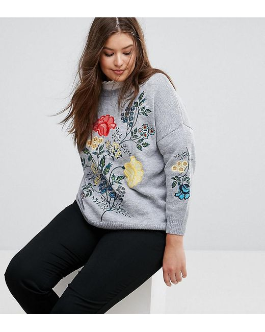 Simply Be - Gray Embroidered Sweater - Lyst