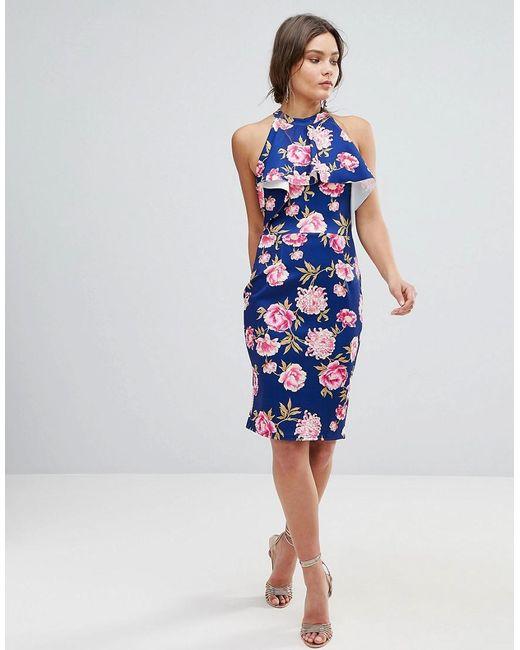 Floral High Neck Midi Dress With Frill Detail - Multi Girls On Film PzKijKAnE