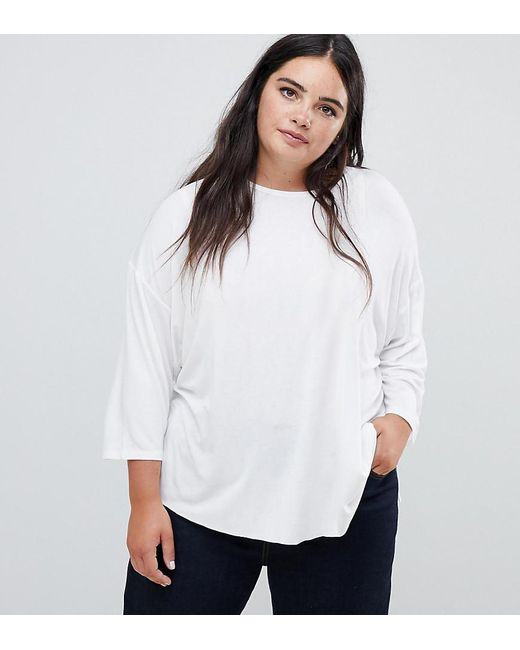 48b298574157a ASOS - Asos Design Curve Top With 3 4 Sleeves In Drapey Fabric In White ...